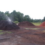 substrate piles being irrigated
